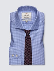 Men's Formal Navy & White Dogstooth Check Extra Slim Fit Shirt - Single Cuff - Windsor Collar - Easy Iron