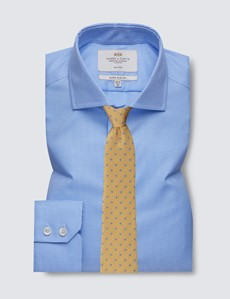 Men's Business Blue & White Dogstooth Extra Slim Fit Shirt - Single Cuff - Windsor Collar - Non Iron