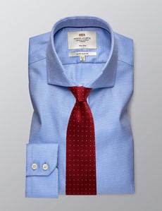 Men's Formal Blue Extra Slim Fit Shirt - Single Cuff - Windsor Collar - Non Iron