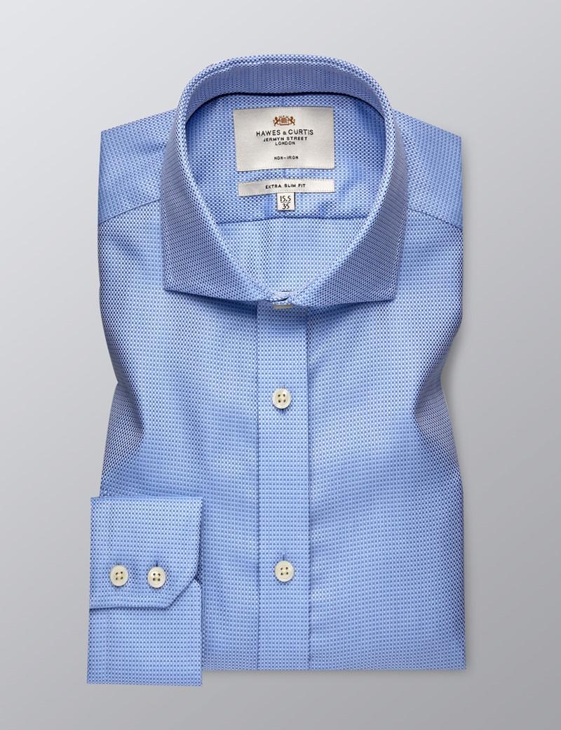 Bügelfreies Businesshemd – Extra Slim Fit – Haifischkragen – Webmuster blau