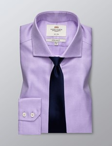 Men's Dress Lilac Textured Extra Slim Fit Shirt - Windsor Collar- Single Cuff - Non Iron