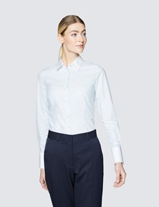 Women's Executive White & Green Fitted Shirt with White Collar & Single Cuffs