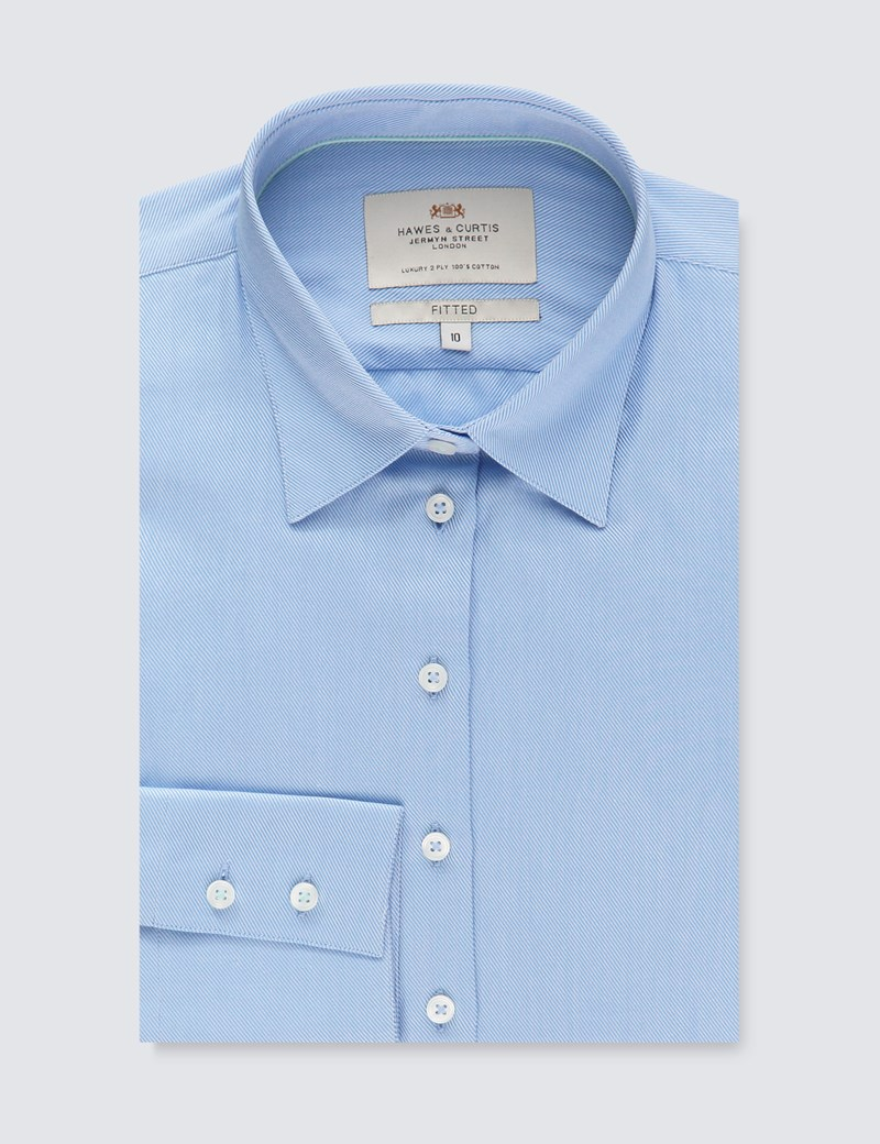 Women's Light Blue Twill Fitted Executive Shirt - Single Cuff