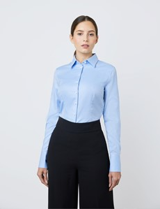 Executive Bluse – Slim Fit – Baumwolle – Twill hellblau