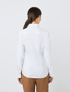 Women's White Twill Fitted Executive Shirt - Single Cuff