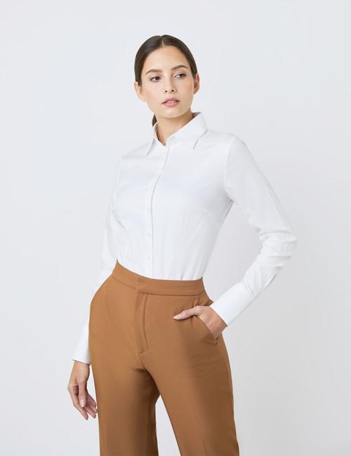 Executive Bluse – Slim Fit – Baumwolle – Twill weiß mit Kontrastnaht türkis