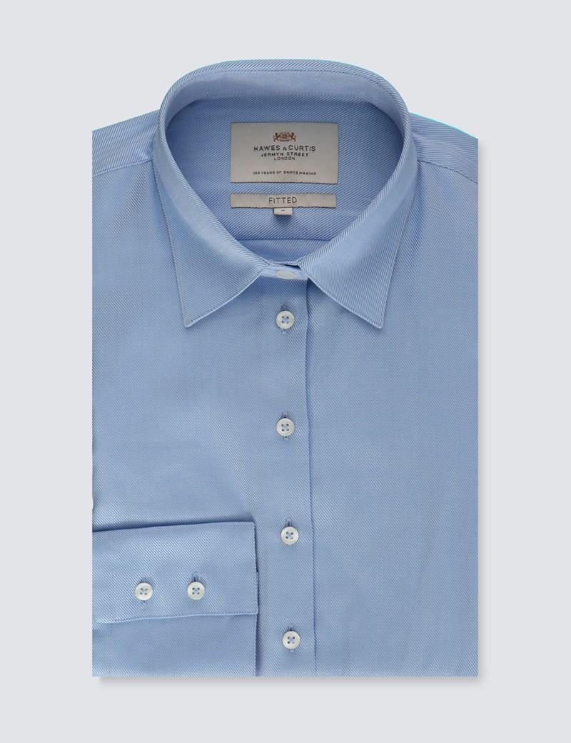 Executive Bluse – Slim Fit – Baumwolle – Twill blau
