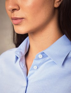 Women's Executive Blue Twill Fitted Shirt - Single Cuff
