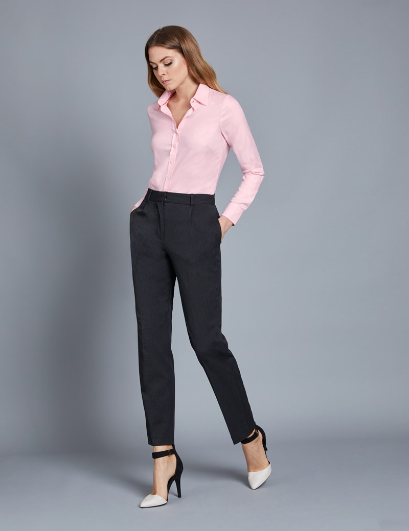 Women's Executive Pink Twill Fitted Shirt - Single Cuff