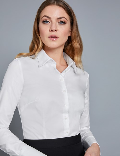 Women's Executive White Twill Fitted Shirt - Single Cuff