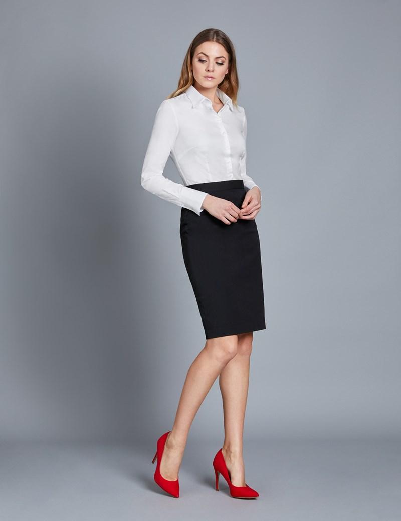 Executive Bluse – Slim Fit – Twill weiß