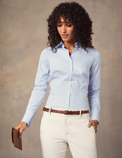 Women's Executive Blue & White Bengal Stripe Fitted Shirt