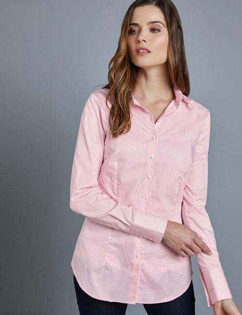 Executive Bluse – Slim Fit – Baumwolle – Bengal Streifen pink & weiß