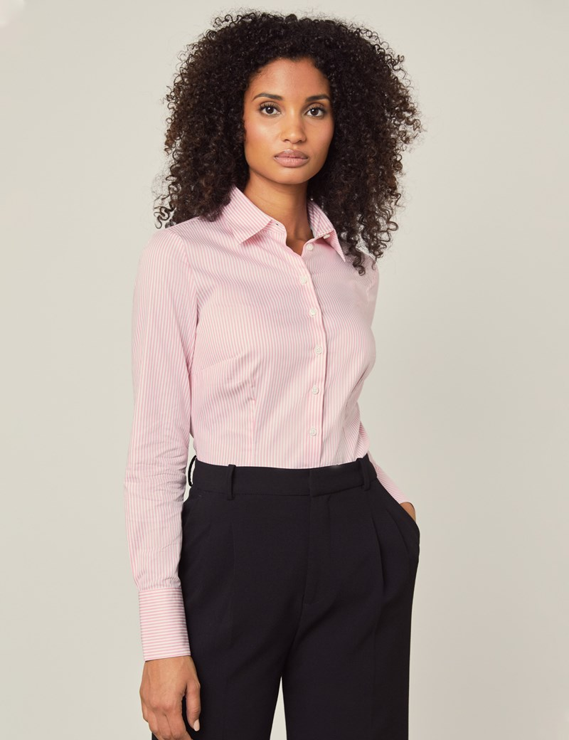 Women's Executive Light Pink & White Bengal Stripe Fitted Shirt - Single Cuff