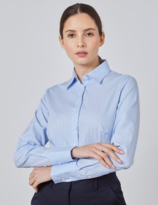 Women's Executive Blue & White Bengal Stripe Fitted Shirt - Single Cuff