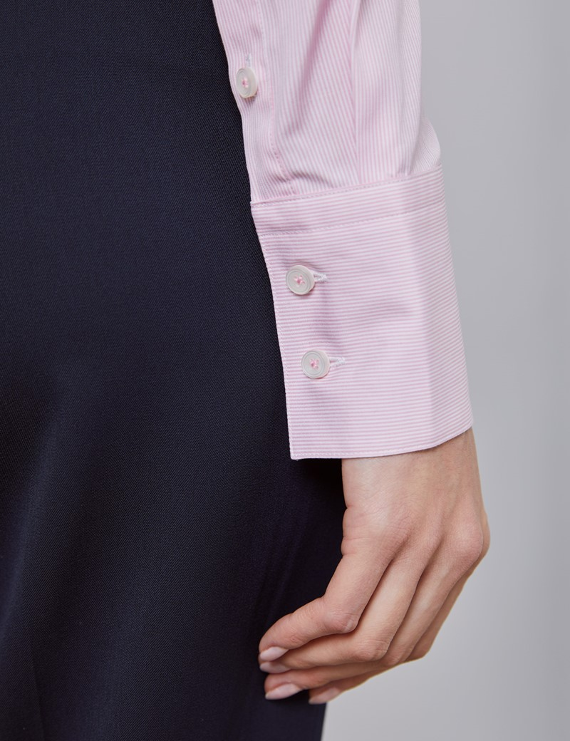 Women's Executive White & Pink Pine Stripe Fitted Shirt - Single Cuff