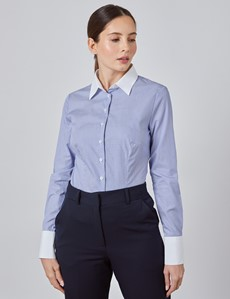 Women's Executive Blue & White Pine Stripe Fitted Shirt With White Collar and Cuff - Single Cuff