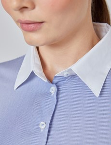Executive Bluse – Slim Fit – Baumwolle – Bengal-Streifen blau-weiß mit Kontrasten