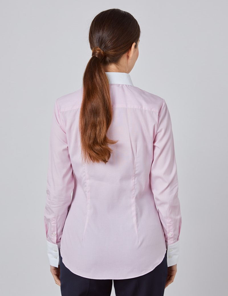 Women's Executive Pink & White Pine Stripe Fitted Shirt With White Collar and Cuff - Single Cuff