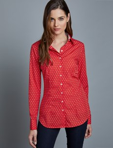 Women's Red & White Dobby Fitted Shirt – French Cuffs