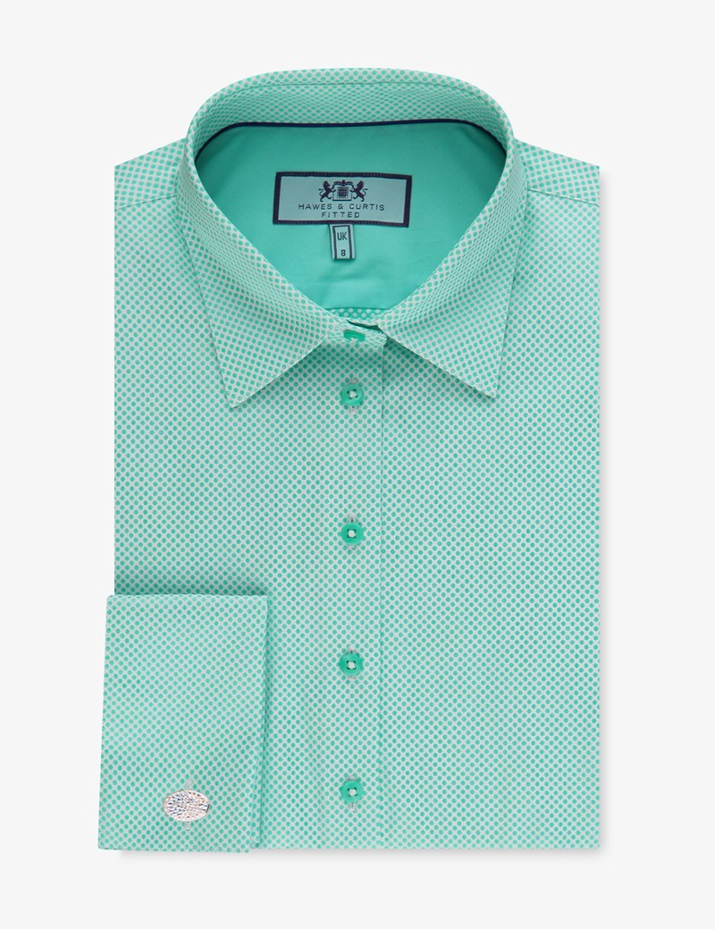Women's Green & White Dobby Spot Fitted Shirt – Double Cuff