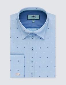 Bluse – Slim Fit – Baumwolle – Manschetten – Miniblumen blau & weiß