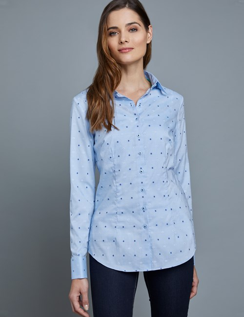 Women's Blue & White Flower Dobby Fitted Shirt – French Cuffs