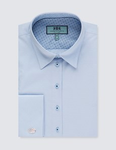 Women's Light Blue and Blue Fine Spot Fitted Shirt – Double Cuffs