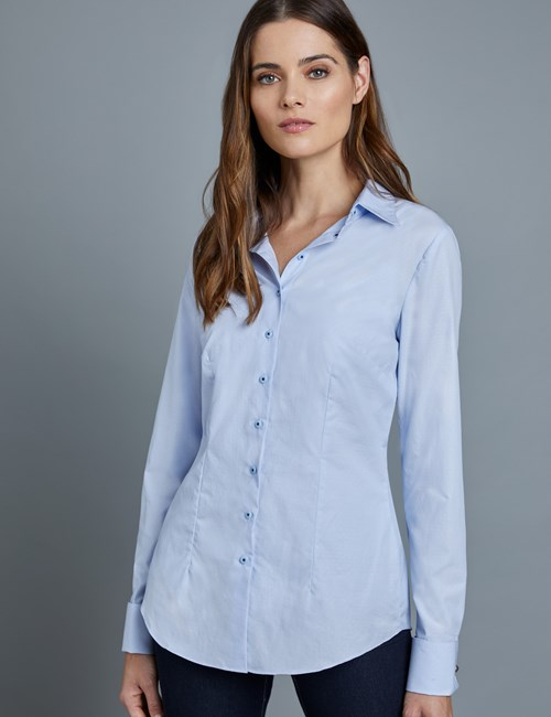 Women's Light Blue and Blue Fine Spot Fitted Shirt – Double Cuffs