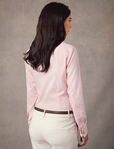 Women's White & Red Dobby Spot Floral Fitted Shirt – Double Cuff