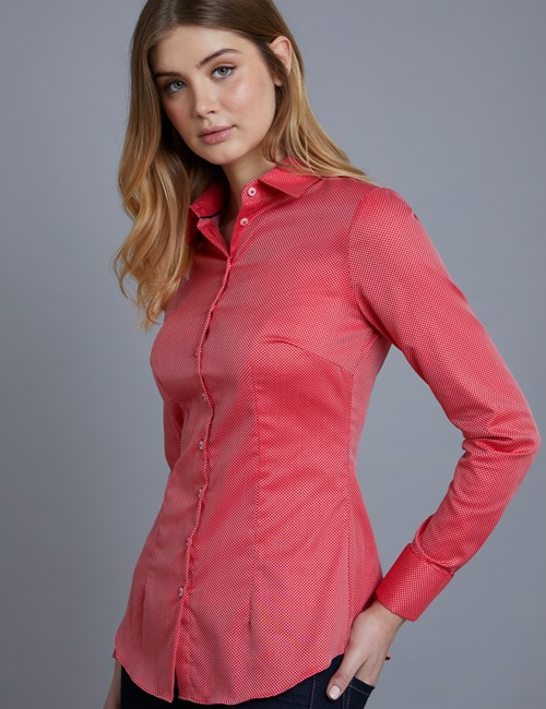 Women's Red & White Dobby Spot Fitted Shirt – French Cuffs