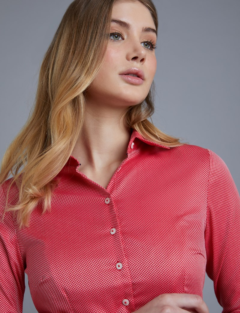 Women's Red & White Dobby Spot Fitted Shirt – Double Cuff