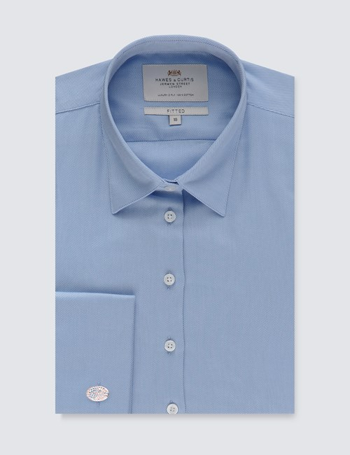 Women's Light Blue Twill Fitted Shirt Executive Collection- Double Cuff