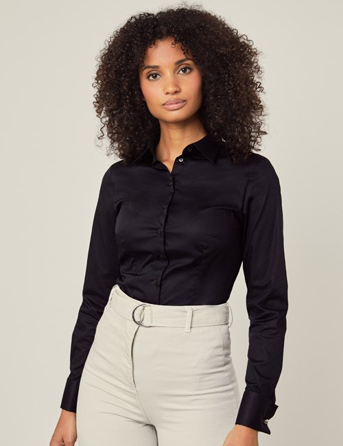 Women's Black Fitted Cotton Stretch Shirt - Double Cuff