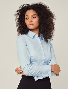 Women's Ice Blue Fitted Cotton Stretch Shirt - Double Cuff