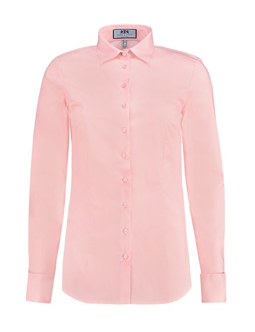 Women's Rose Pink Fitted Cotton Stretch Shirt - French Cuffs