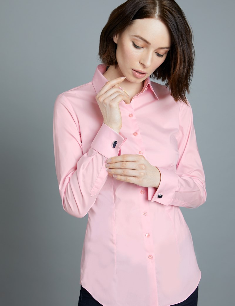 Women's New Pink Fitted Shirt - Double Cuff