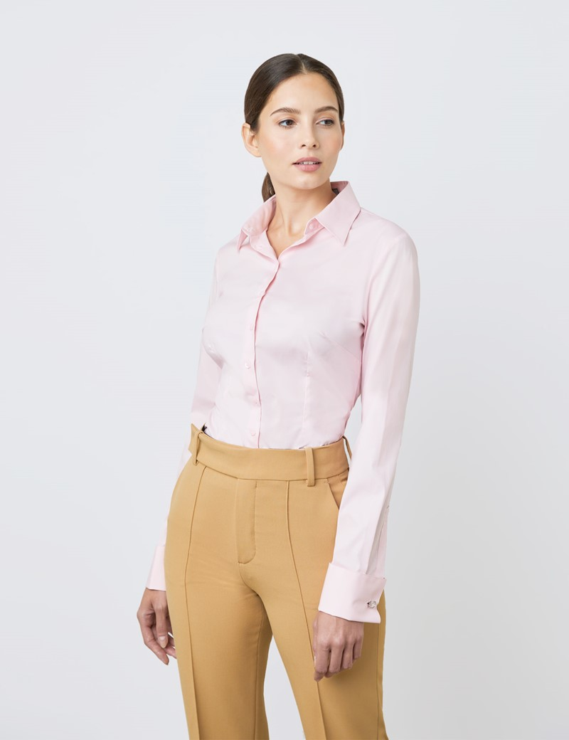 Women's New Pink Fitted Shirt - French Cuff