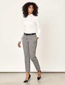 Women's White Fitted Cotton Stretch Shirt - French Cuffs