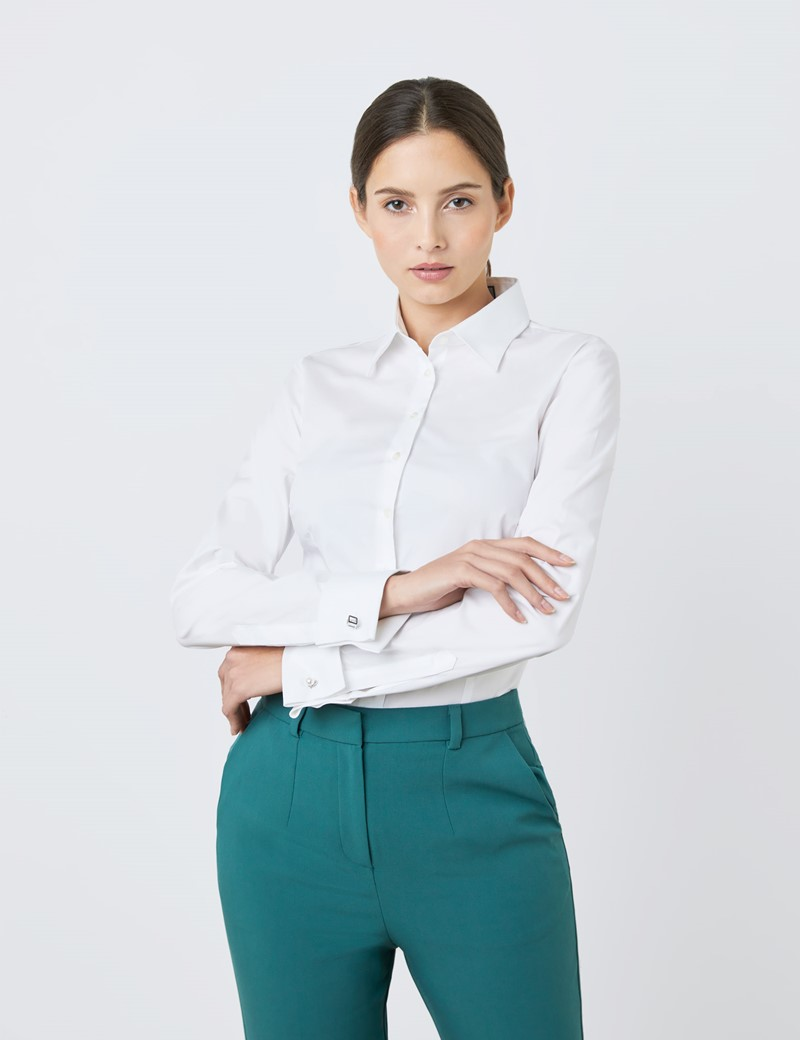 Women's White Fitted Cotton Stretch Shirt - Double Cuffs