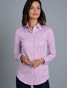 Women's Pink & White Stripe Fitted Shirt With Contrast Detail - Double Cuff