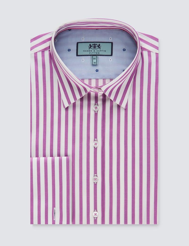 Bluse – Slim Fit – Baumwollstretch – Manschetten – Pinke Streifen