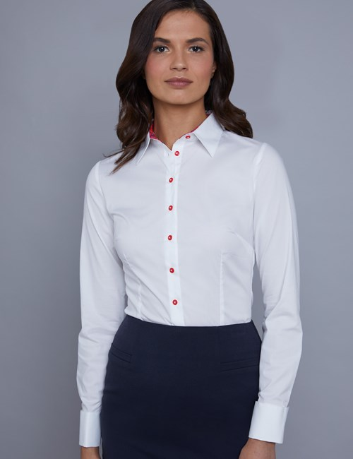 Women's White Fitted Shirt With Floral Contrast Detail - Double Cuff
