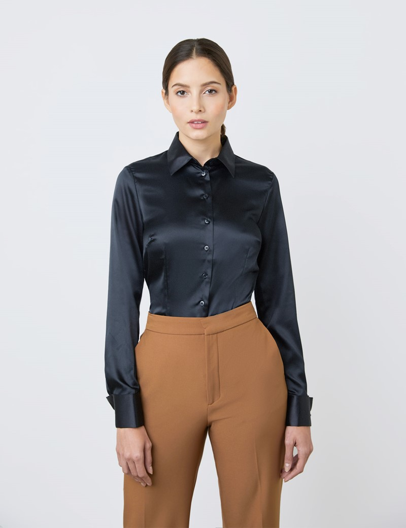 Women's Black Fitted Satin Shirt - Double Cuff