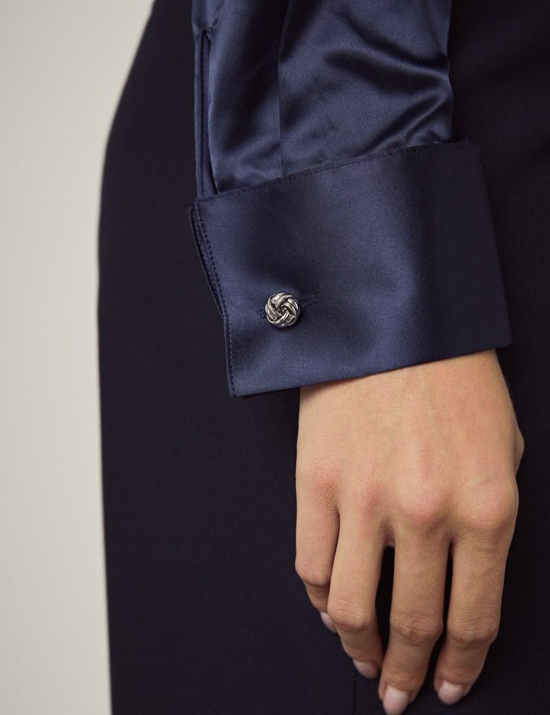 Bluse – Slim Fit – Manschetten – Satin – Dunkelblau