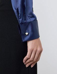 Women's Navy Fitted Satin Shirt - Double Cuff