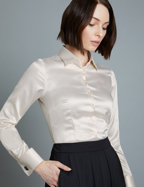 Women's Cream Fitted Satin Shirt - Double Cuff