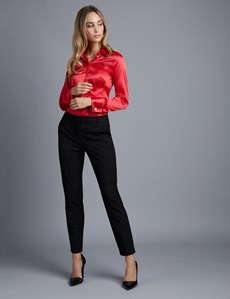 Women's Red Fitted Satin Shirt - Double Cuff