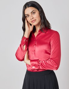 Women's Red Fitted Satin Shirt - French Cuff