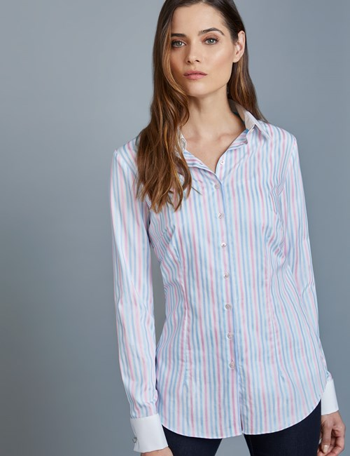 Women's Blue & Pink Stripe Fitted Shirt – Double Cuffs
